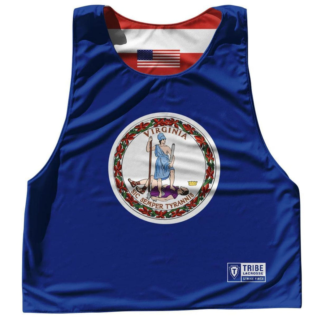 Navy /& Red Texas Flag and American Flag Lacrosse Pinnie XX-Large
