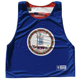 Virginia State Flag and American Flag Reversible Lacrosse Pinnie - Navy / Adult Small / No - Lacrosse Pinnies