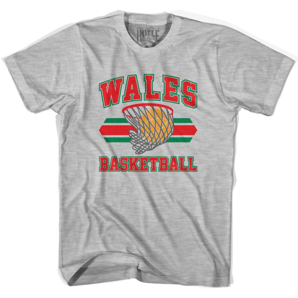Wales 90s Basketball T-shirts - Grey Heather / Youth X-Small - Basketball T-shirt