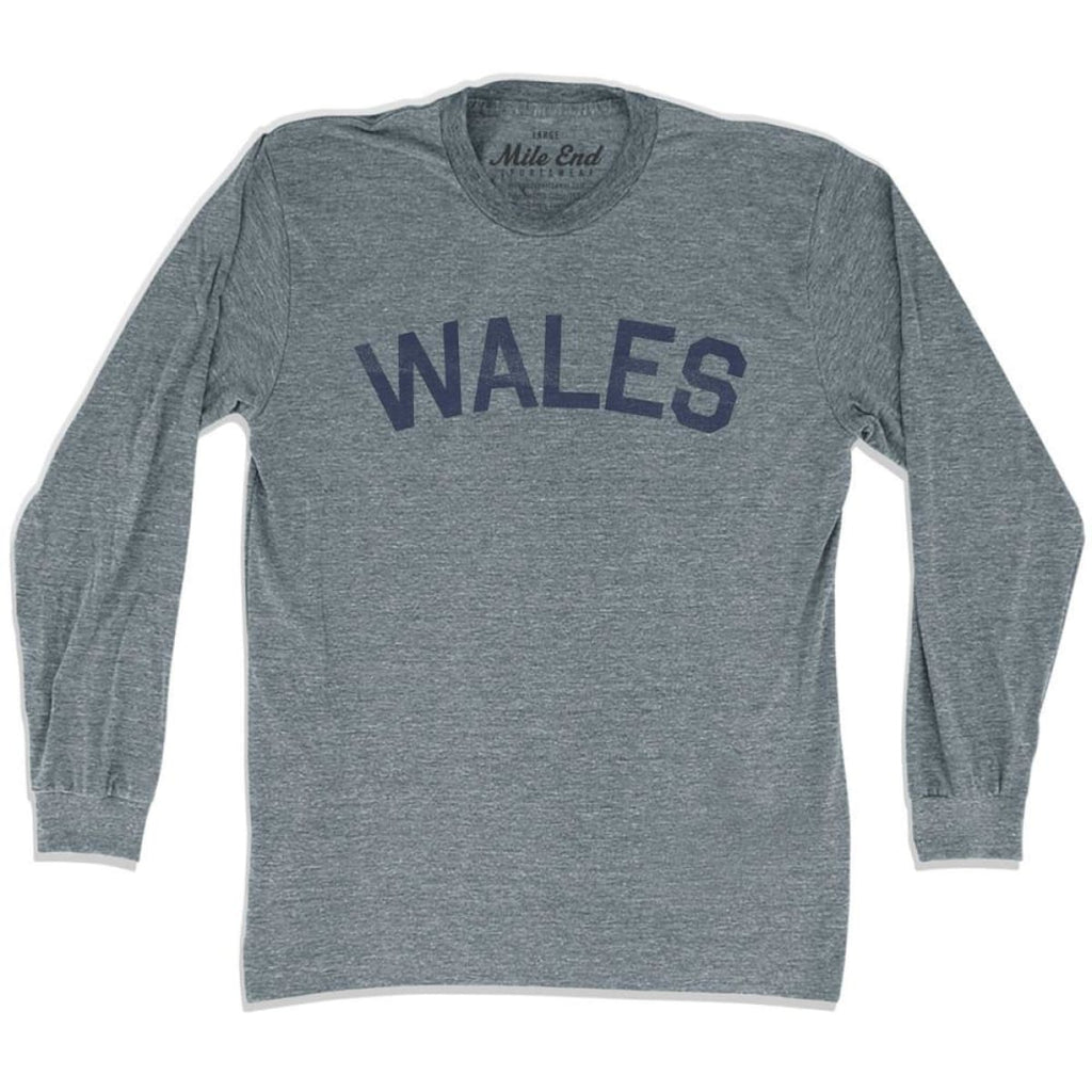 Wales City Vintage Long Sleeve T-shirt - Athletic Grey / Adult X-Small - Mile End City