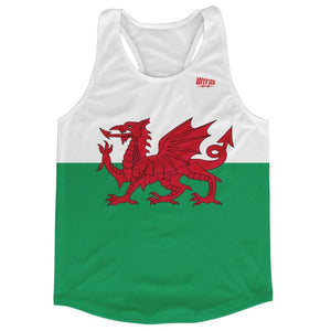 Wales Country Flag Running Tank Top Racerback Track and Cross Country Singlet Jersey - White Green / Adult X-Small - Running Top