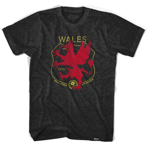Wales Dragon Crest Soccer T-shirt - Tri-Black / Adult Small - Ultras Soccer Country T-shirts