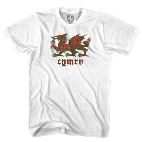 Wales Dragon T-shirt - White / Youth X-Small - Ultras Soccer T-shirts