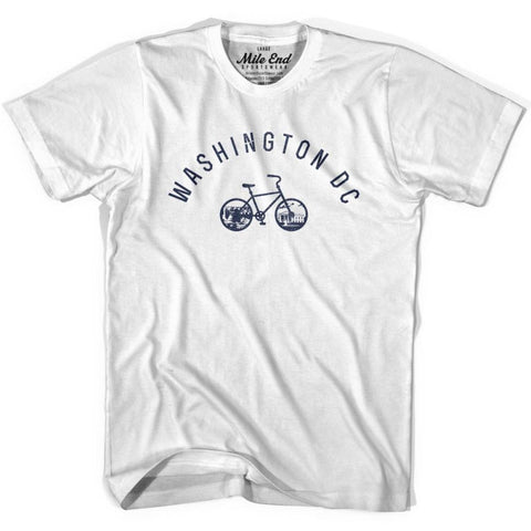 Washington DC Bike T-shirt - White / Adult X-Small - Mile End City