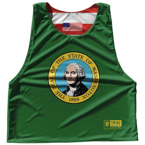 Washington State Flag and American Flag Reversible Lacrosse Pinnie - Green / Adult Small / No - Lacrosse Pinnies