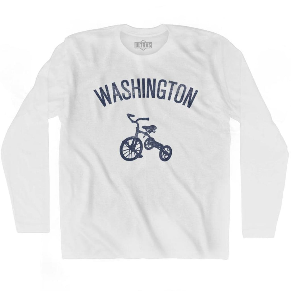Washington State Tricycle Adult Cotton Long Sleeve T-shirt - White / Adult Small - Tricycle State