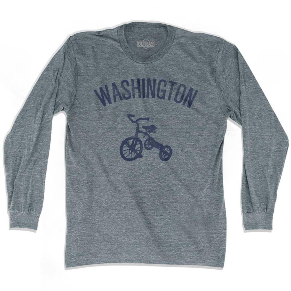 Washington State Tricycle Adult Tri-Blend Long Sleeve T-shirt - Athletic Grey / Adult Small - Tricycle State
