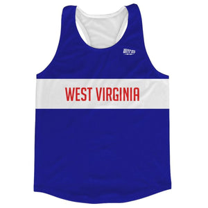 West Virginia Finish Line Running Tank Top Racerback Track and Cross Country Singlet Jersey - Blue White / Adult X-Small - Running Top