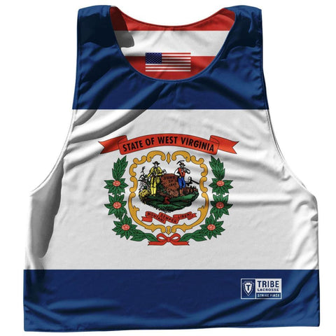 West Virginia State Flag and American Flag Reversible Lacrosse Pinnie - Blue & White / Adult Small / No - Lacrosse Pinnies
