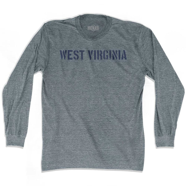 West Virginia State Stencil Adult Tri-Blend Long Sleeve T-shirt - Athletic Grey / Adult Small - Stencil State