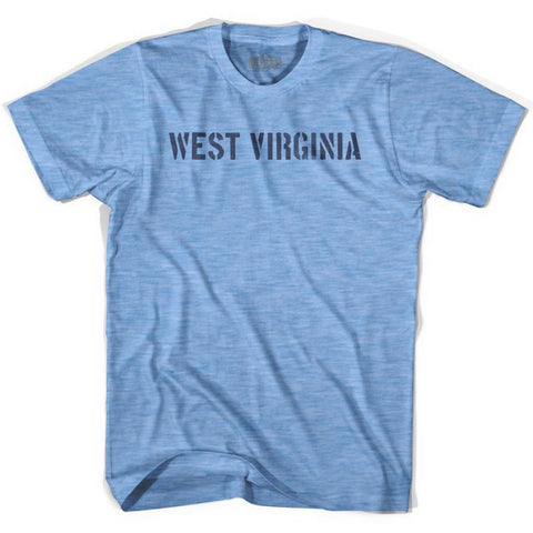 West Virginia State Stencil Adult Tri-Blend T-shirt - Athletic Blue / Adult Small - Stencil State