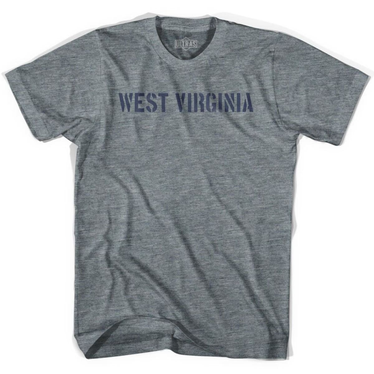 West Virginia State Stencil Youth Tri-Blend T-shirt - Athletic Grey / Youth X-Small - Stencil State