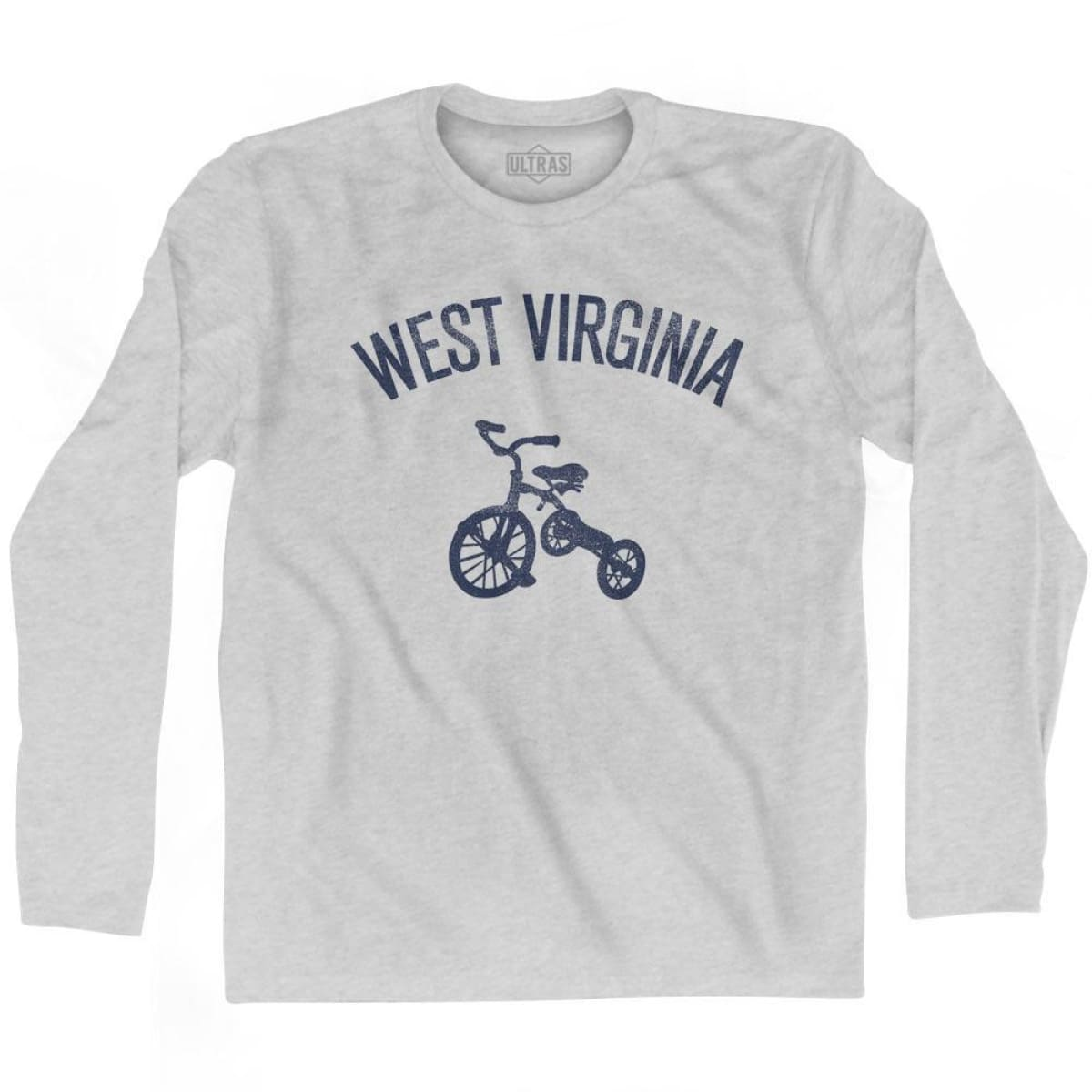 West Virginia State Tricycle Adult Cotton Long Sleeve T-shirt - Grey Heather / Adult Small - Tricycle State