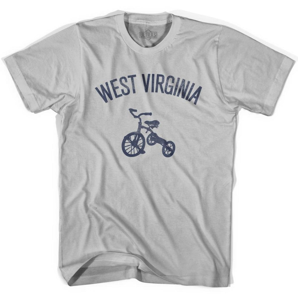 West Virginia State Tricycle Adult Cotton T-shirt - Cool Grey / Adult Small - Tricycle State