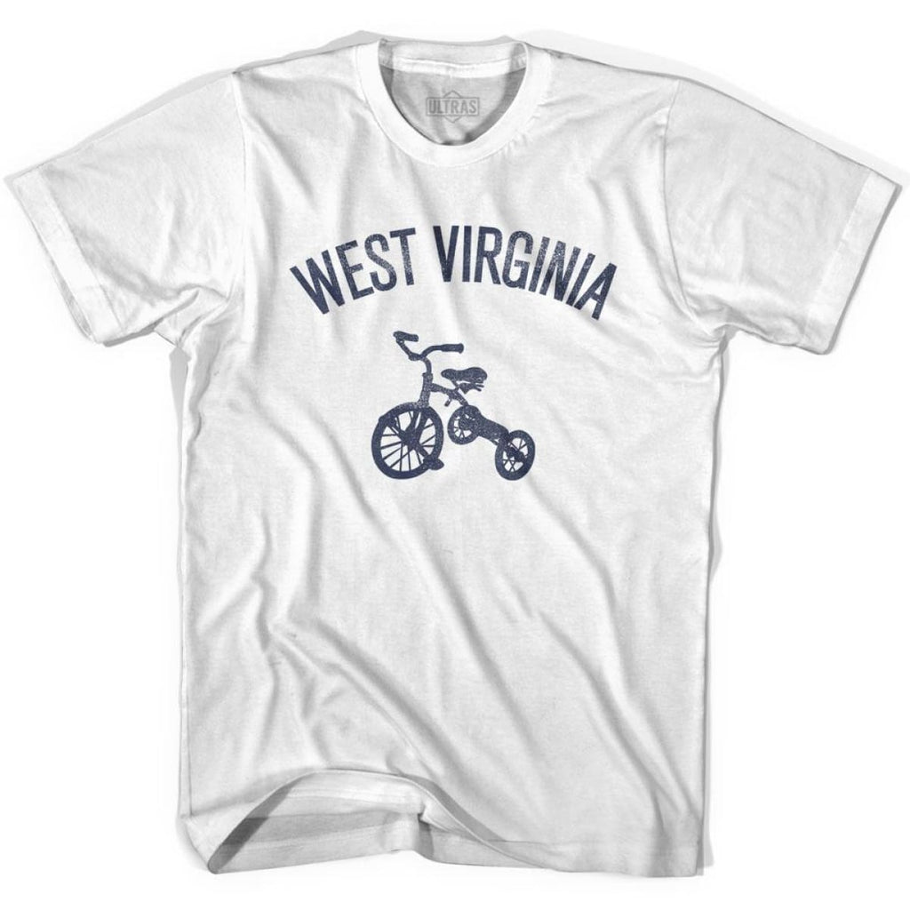 West Virginia State Tricycle Adult Cotton T-shirt - White / Adult Small - Tricycle State