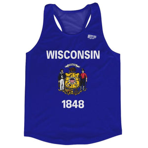 Wisconsin State Flag Running Tank Top Racerback Track and Cross Country Singlet Jersey - Royal Blue / Adult X-Small - Running Top
