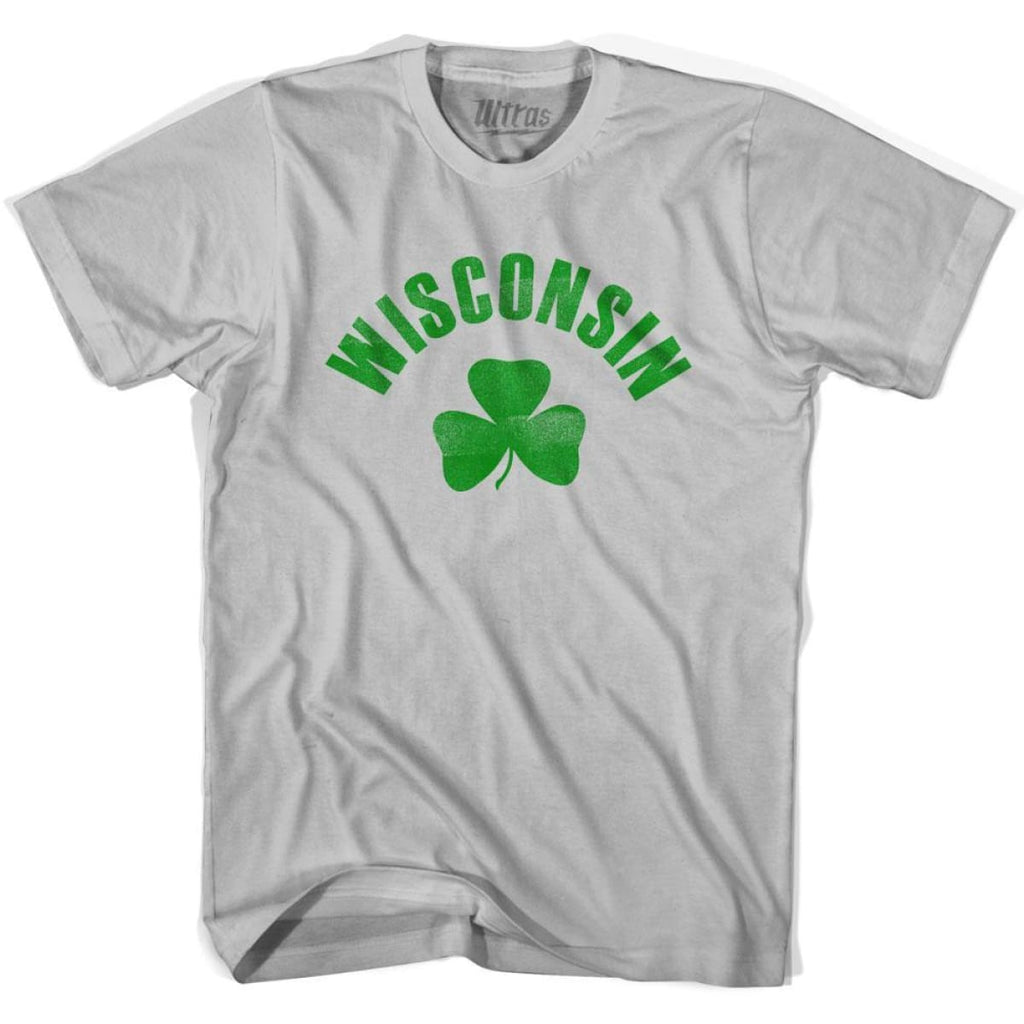 Wisconsin State Shamrock Cotton T-shirt - Cool Grey / Adult Small - Shamrock Collection