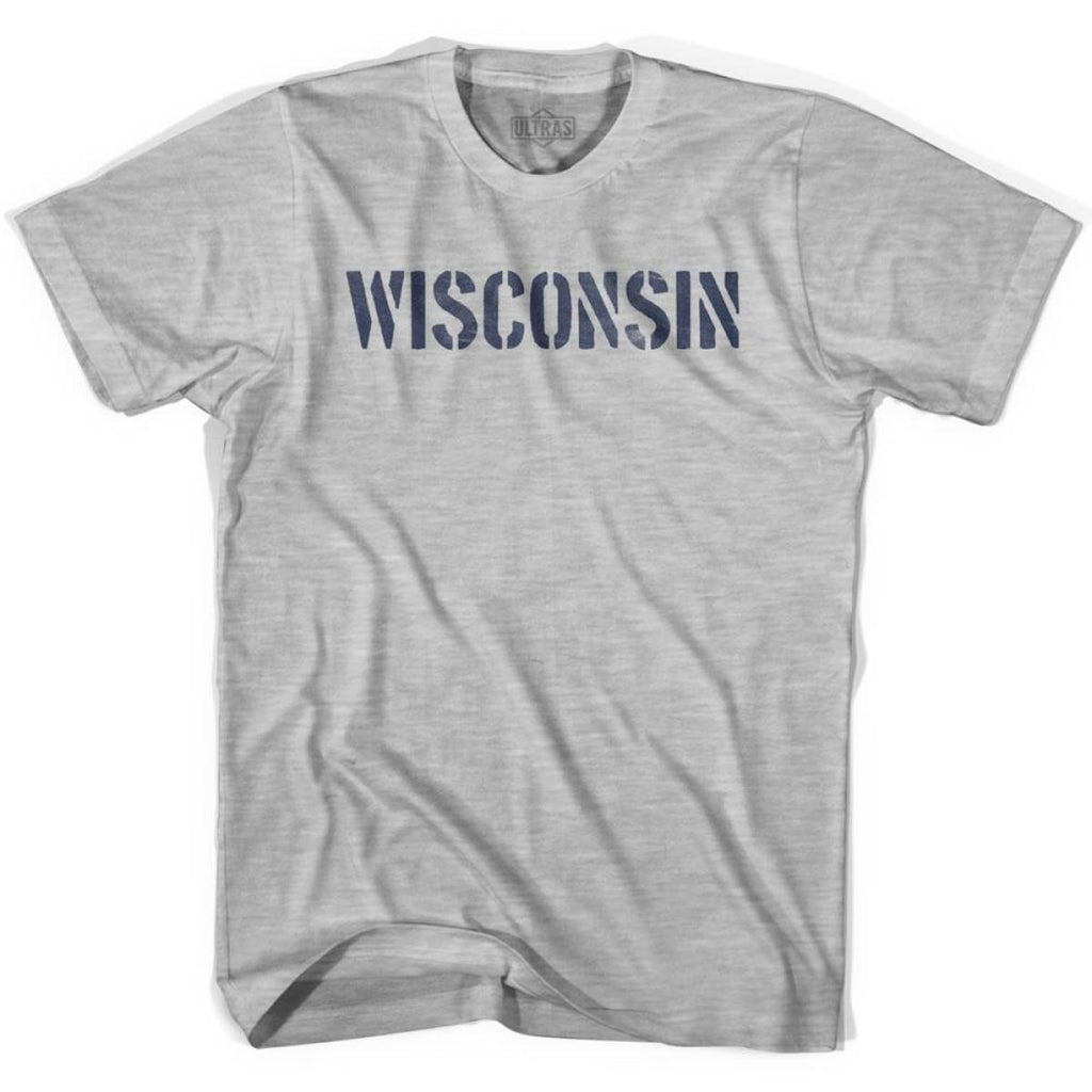 Wisconsin State Stencil Youth Cotton T-shirt - Grey Heather / Youth X-Small - Stencil State