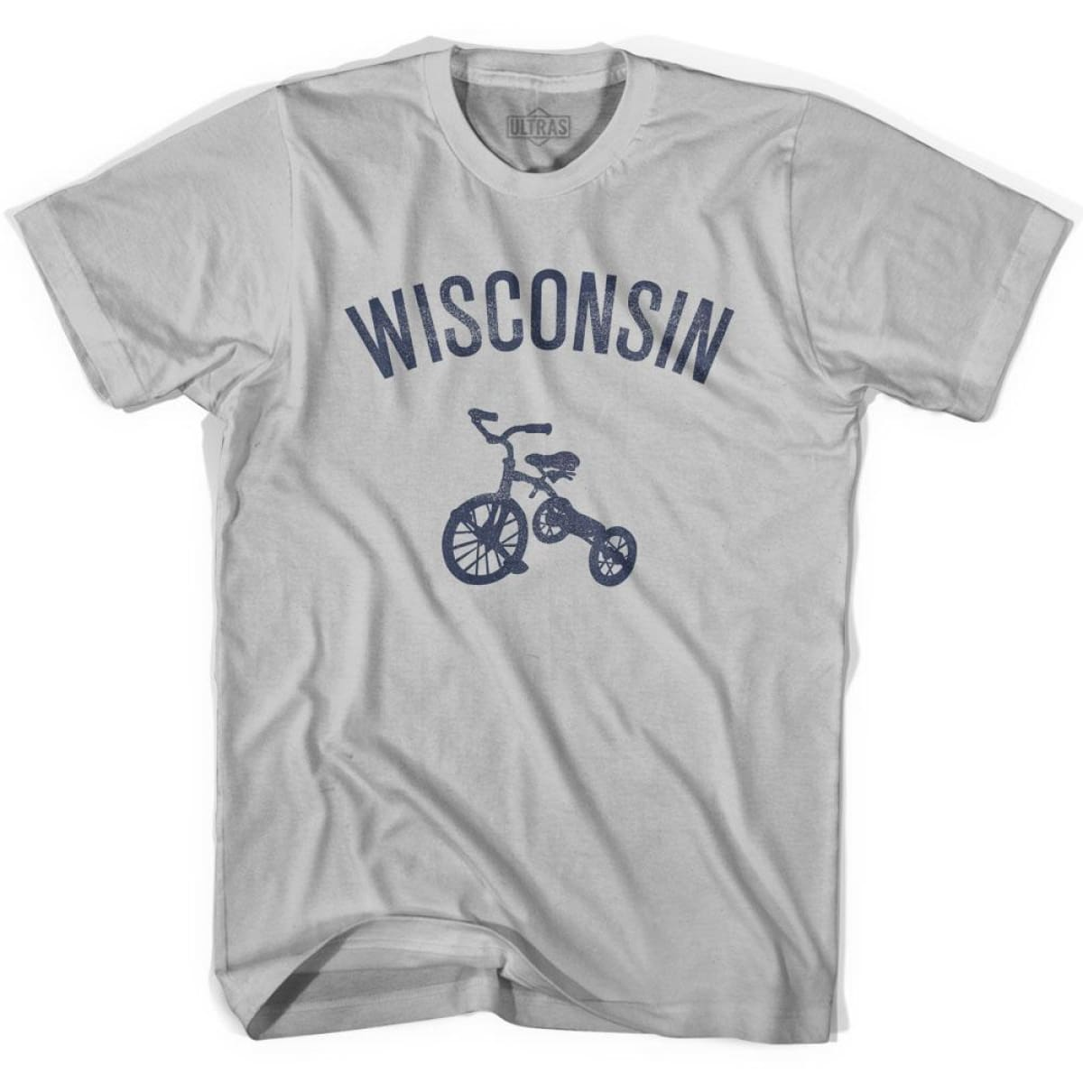 Wisconsin State Tricycle Adult Cotton T-shirt - Cool Grey / Adult Small - Tricycle State