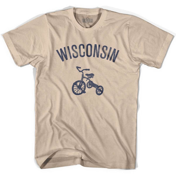 Wisconsin State Tricycle Adult Cotton T-shirt - Creme / Adult Small - Tricycle State