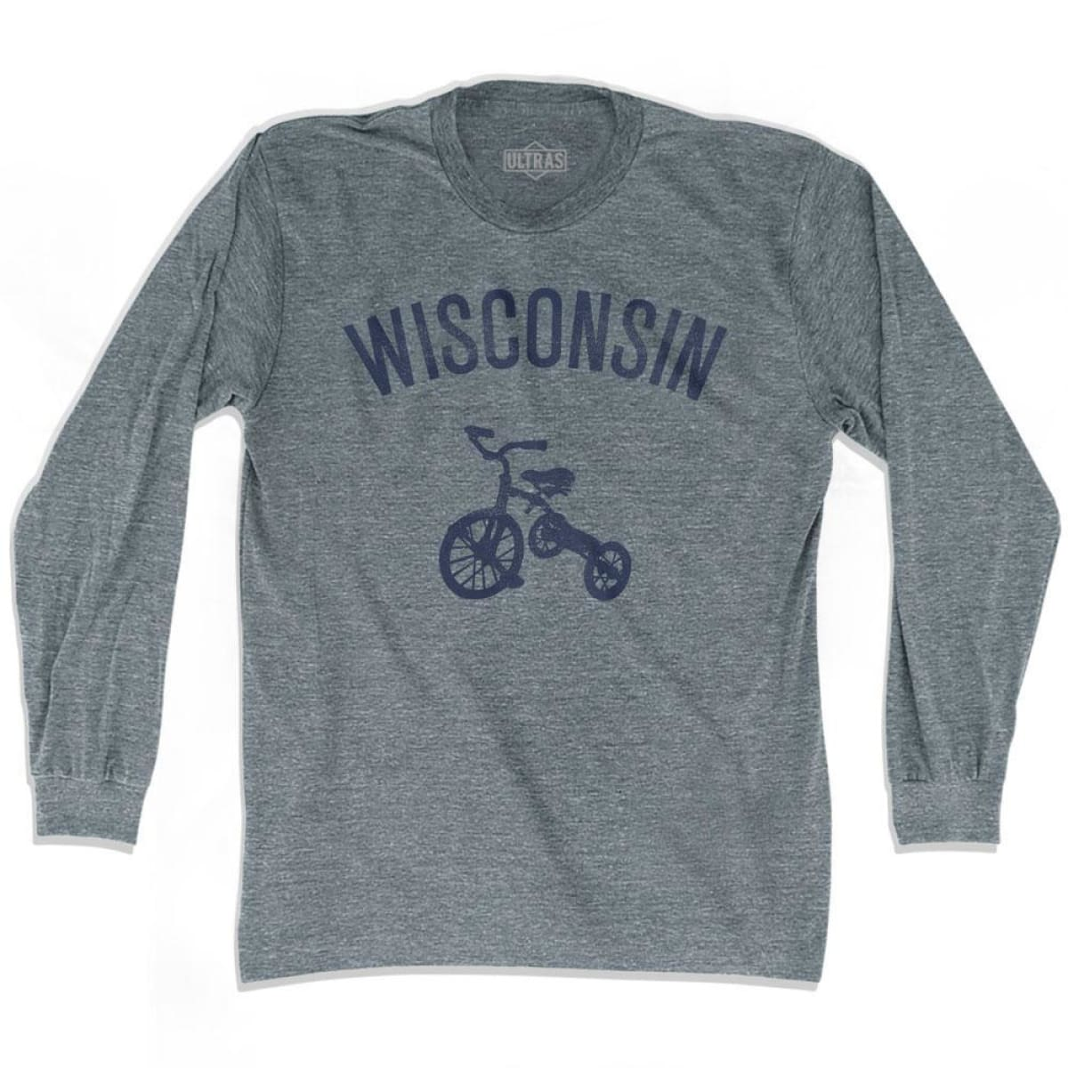 Wisconsin State Tricycle Adult Tri-Blend Long Sleeve T-shirt - Athletic Grey / Adult Small - Tricycle State