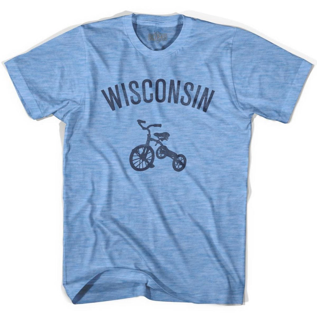 Wisconsin State Tricycle Adult Tri-Blend T-shirt - Athletic Blue / Adult Small - Tricycle State