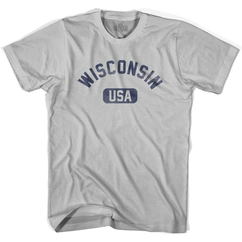 Wisconsin USA Adult Cotton T-shirt - Cool Grey / Adult Small - USA State