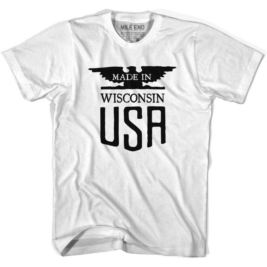 Wisconsin Vintage Eagle T-shirt - White / Youth X-Small - Made in Eagle