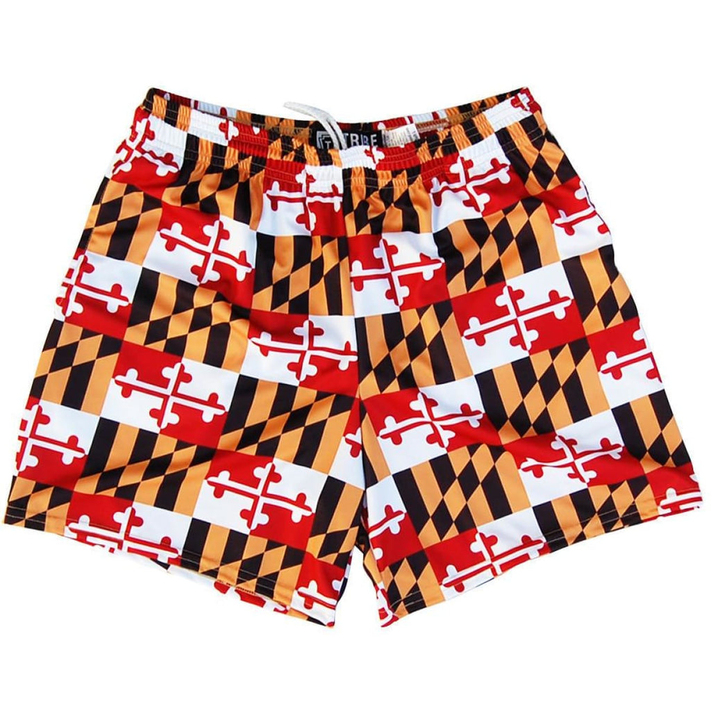 Womens Maryland Flag All-Over Game Shorts - Red White Black and Yellow / Youth X-Small - Womens Sport Shorts
