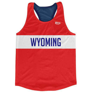 Wyoming Finish Line Running Tank Top Racerback Track and Cross Country Singlet Jersey - Blue White Red / Adult X-Small - Running Top