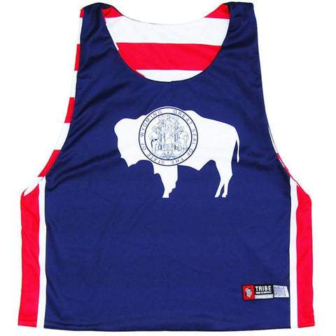 Wyoming Flag and American Flag Lacrosse Pinnie - Graphic Lacrosse Pinnies