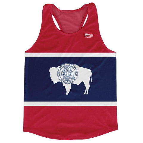 Wyoming State Flag Running Tank Top Racerback Track and Cross Country Singlet Jersey - Blue White & Red / Adult X-Small - Running Top