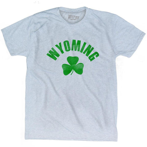 Wyoming State Shamrock Tri-Blend T-shirt - Athletic White / Adult Small - Shamrock Collection