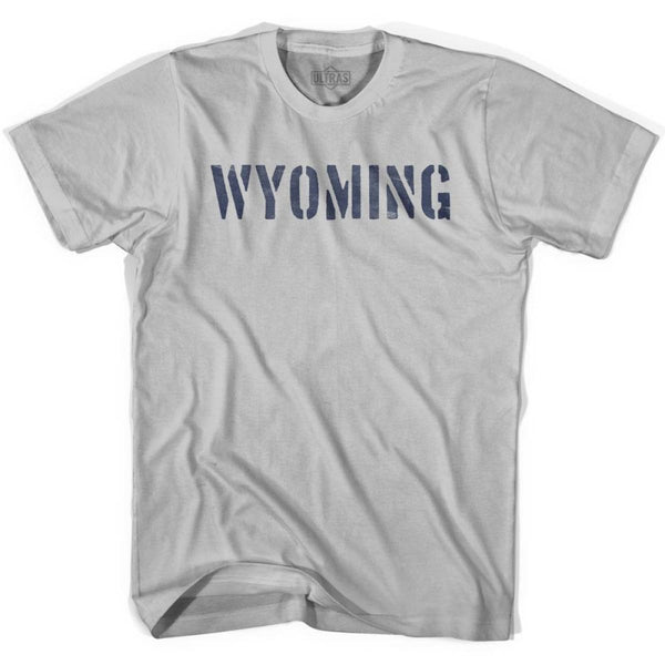 Wyoming State Stencil Adult Cotton T-shirt - Cool Grey / Adult Small - Stencil State