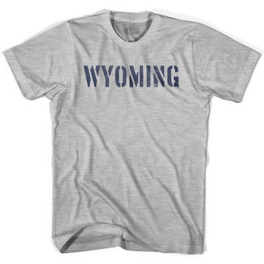 Wyoming State Stencil Adult Cotton T-shirt - Grey Heather / Adult Small - Stencil State