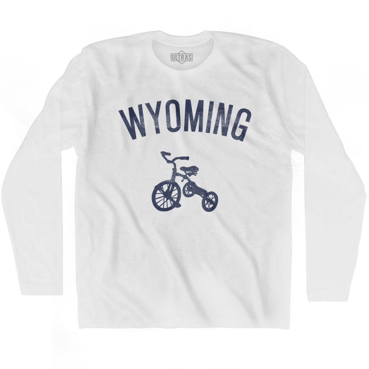 Wyoming State Tricycle Adult Cotton Long Sleeve T-shirt - White / Adult Small - Tricycle State