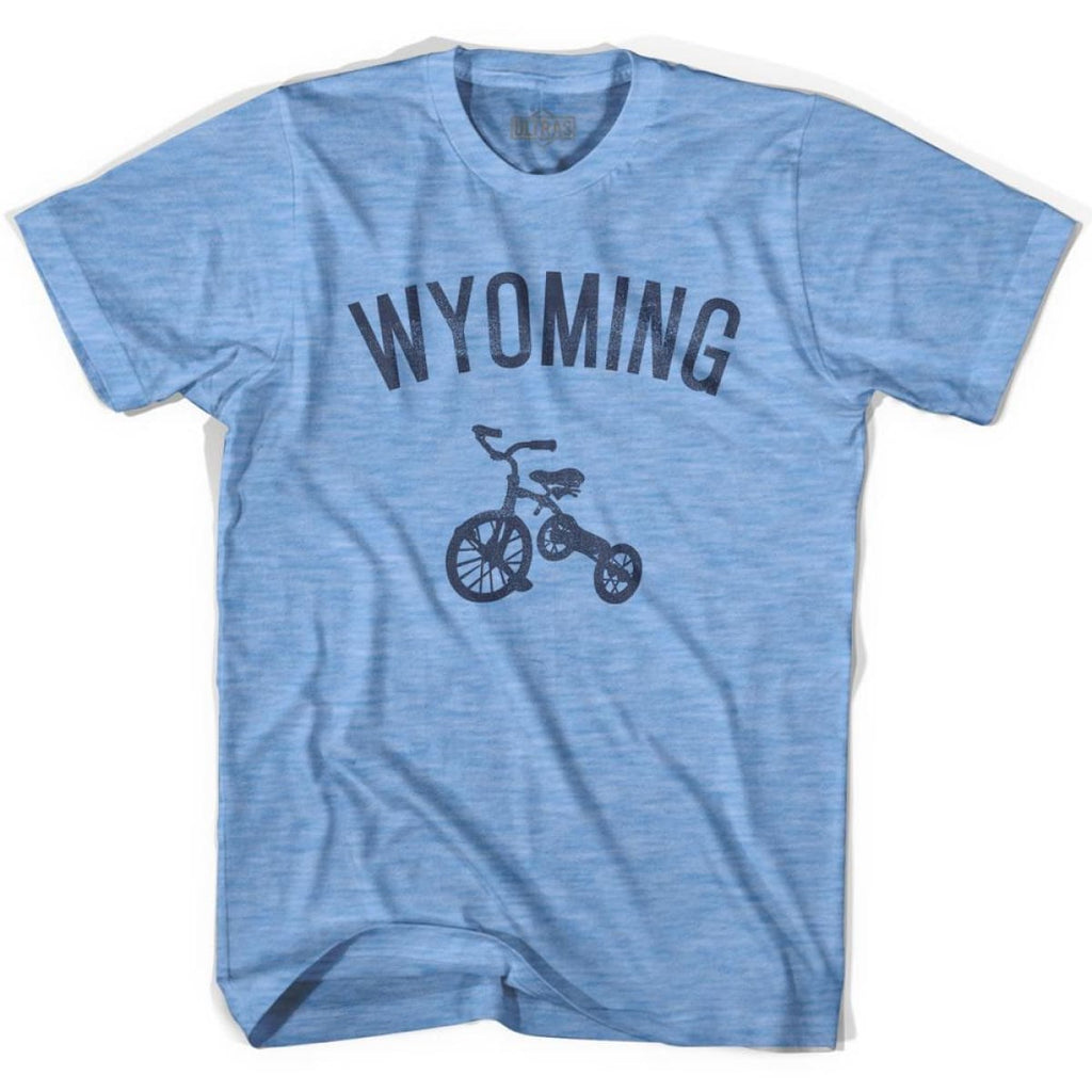 Wyoming State Tricycle Adult Tri-Blend T-shirt - Athletic Blue / Adult Small - Tricycle State