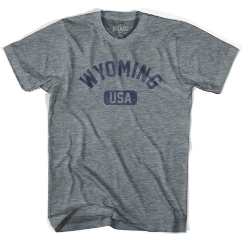 Wyoming USA Adult Tri-Blend T-shirt - Athletic Grey / Adult X-Small - USA State