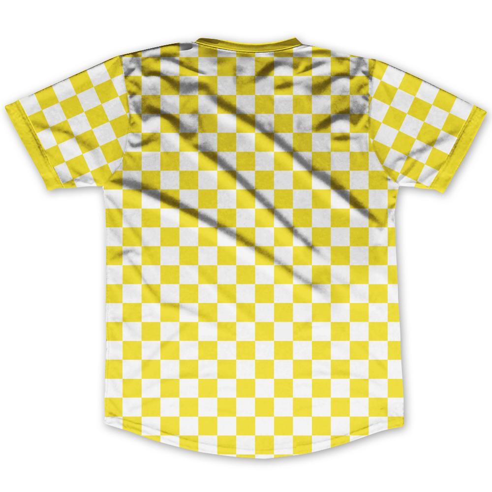 Yellow & White Custom Checkerboard Soccer Jersey By Ultras