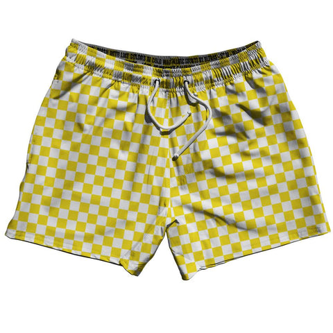 "Yellow & White Checkerboard Swim Shorts 5"" by Ultras"