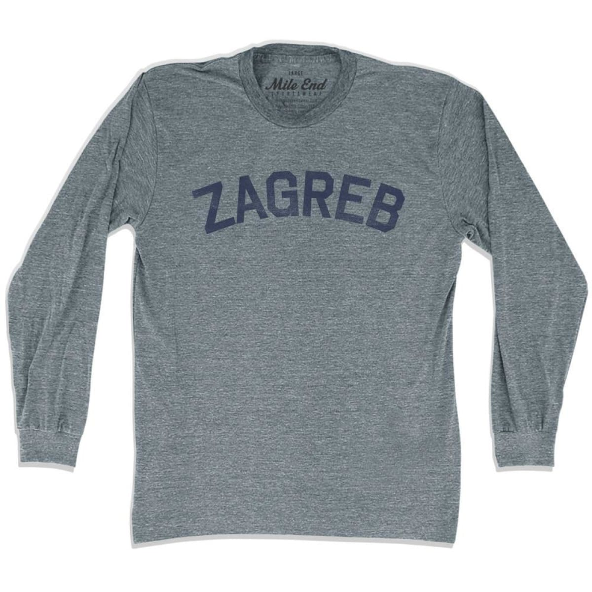 Zagreb City Vintage Long Sleeve T-shirt - Athletic Grey / Adult X-Small - Mile End City