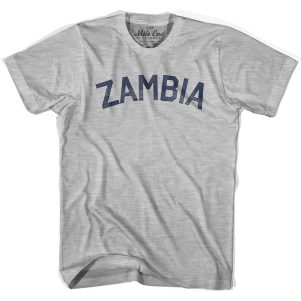Zambia City Vintage T-shirt - Grey Heather / Youth X-Small - Mile End City
