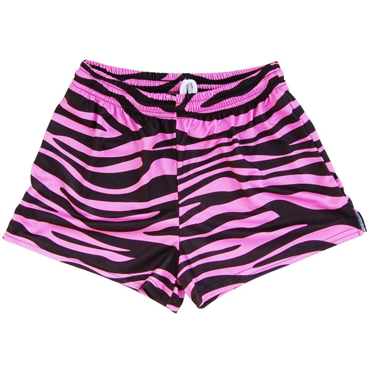 Zebra Pink and Black Womens & Girls Sport Shorts by Mile End - Pink / Youth Small - Womens Sport Shorts
