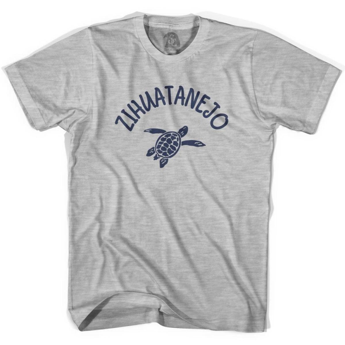 Zihuatanejo Beach Sea Turtle Adult Cotton T-shirt - Grey Heather / Adult Small - Turtle T-shirts