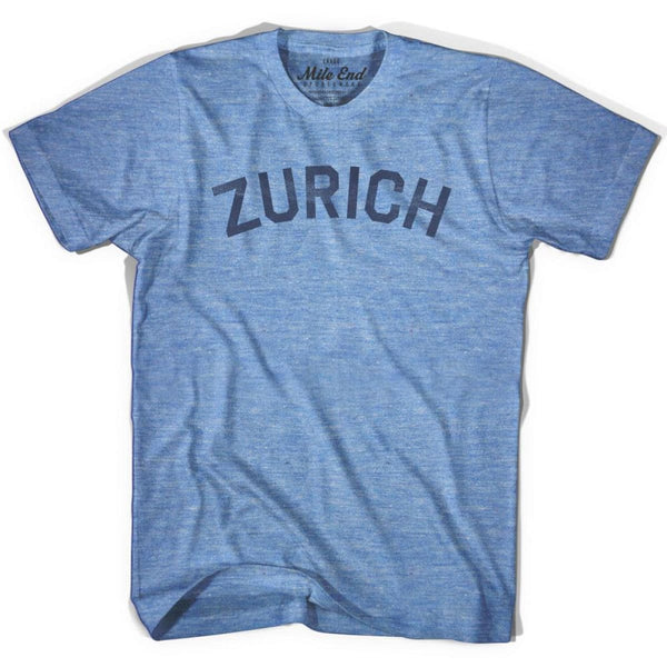 Zurich City Vintage T-shirt - Athletic Blue / Adult X-Small - Mile End City