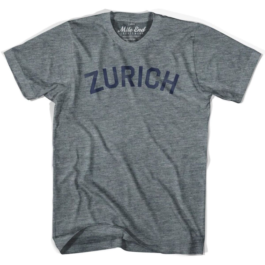 Zurich City Vintage T-shirt - Athletic Grey / Adult X-Small - Mile End City