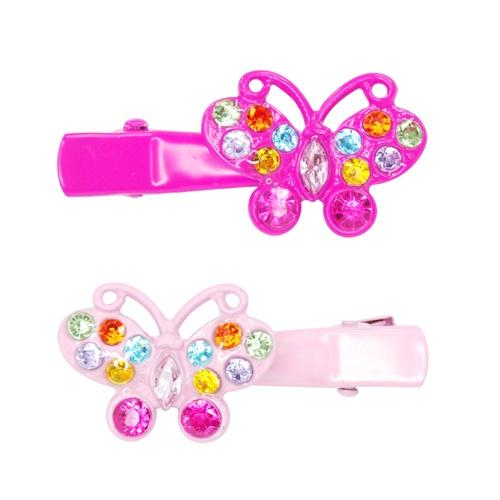 Pink Poppy - Playful Butterfly with Gems Hairclip