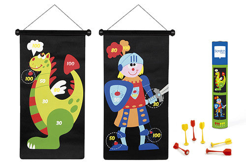 Scratch Darts - knight/dragon magnetic 70x36cm 2-sided printing