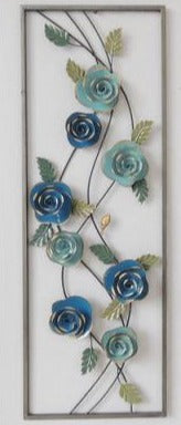 Wall Art: Swirling Flowers in Frame - Blue
