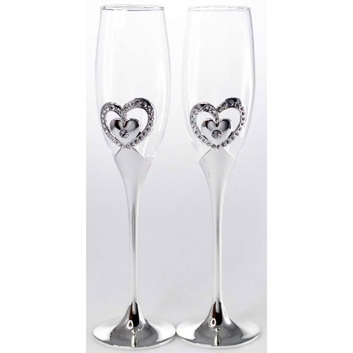 Champagne Glasses with Heart - set of 2